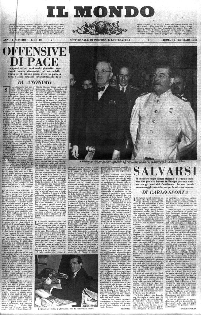 Il Mondo, la prima copia in edicola, del 19 Febbraio 1949.