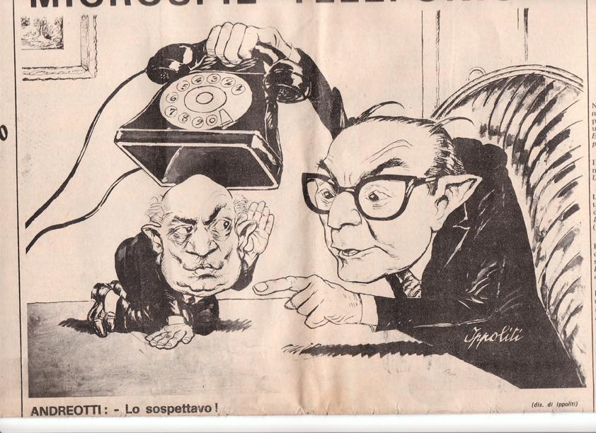 Andreotti e Fanfani in una vignetta del 9 marzo 1973, di Sergio Ippoliti.