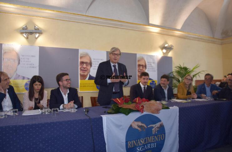 Vittorio Sgarbi candidato sindaco di Sutri, alla presentazione della sua lista