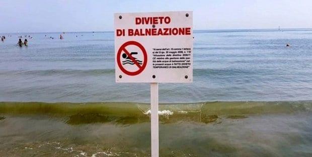 Divieto di balneazione a Rimini per escherichia coli
