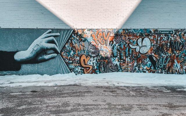 street art in blue