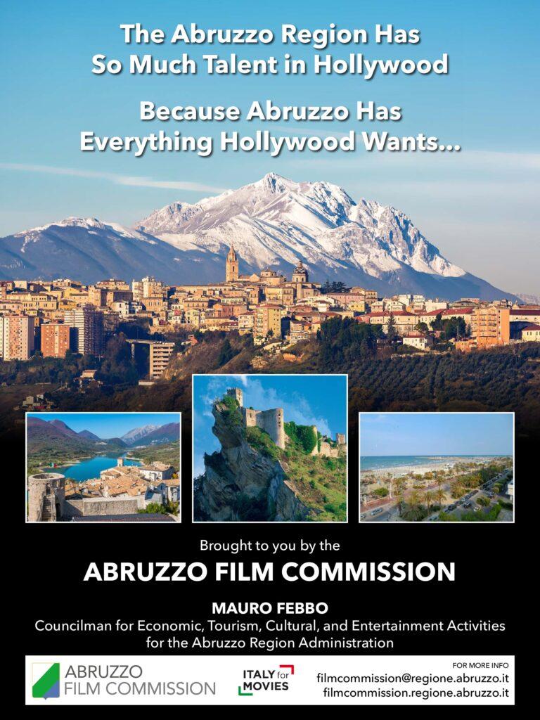 L'Abruzzo ad Hollywood per riportare i suoi talenti in Regione