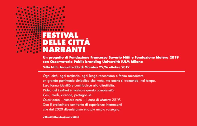 Festival delle Città Narranti, 25 e 26 ottobre ad Acquafredda di Maratea