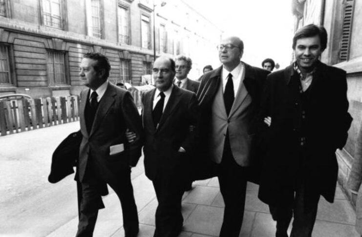 Mario Soares, François Mitterrand, Bettino Craxi e Felipe Gonzales (Parigi, 23 maggio 1984)