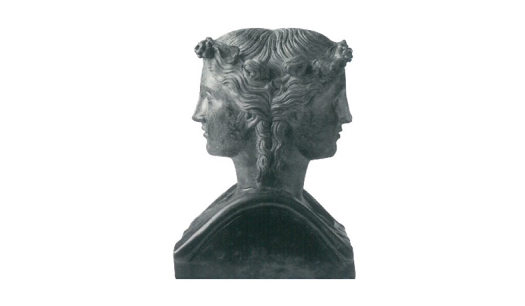 Double herm consisting of two equal heads of Dionysus and Menade