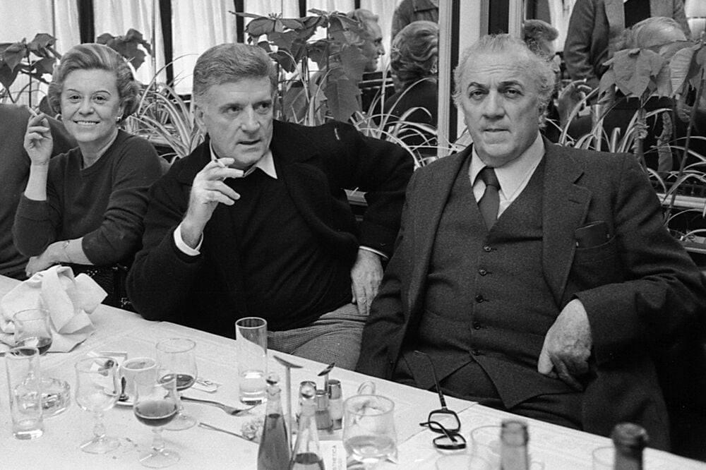 Sergio Zavoli con Federico Fellini e Giulietta Masina