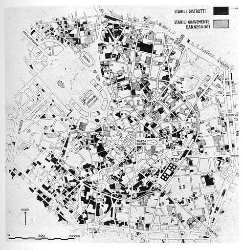 Mappa degli stabili distrutti e gravemente danneggiati dai bombardamenti a Milano-1943/1944