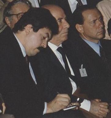 Stefano Rolando con Silvio Berlusconi (fine anni '80).